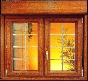 ventana pvc roble dorado